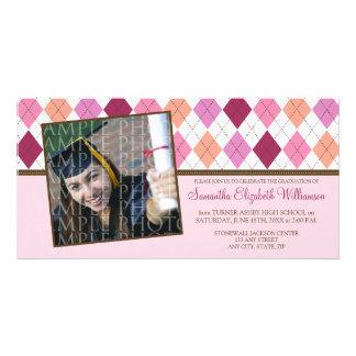 Preppy Argyle Custom Graduation Announcement :: 02 Photo Card