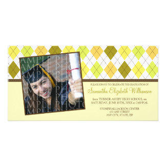 Preppy Argyle Custom Graduation Announcement :: 03 Photo Card