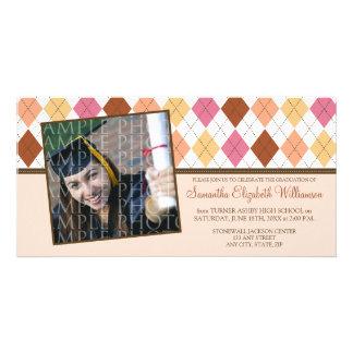 Preppy Argyle Custom Graduation Announcement :: 04 Photo Card