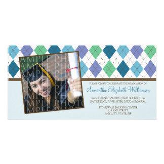 Preppy Argyle Custom Graduation Announcement :: 05 Photo Card