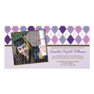 Preppy Argyle Custom Graduation Announcement :: 06 Photo Card