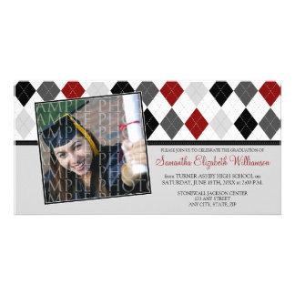 Preppy Argyle Custom Graduation Announcement :: 07 Photo Card