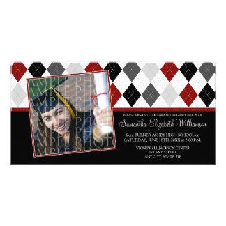 Preppy Argyle Custom Graduation Announcement :: 08 Photo Card Template