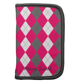 Preppy Argyle Custom Name Hot Pink Pattern Organizers