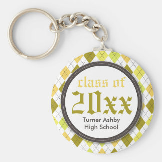 Preppy Argyle Customized Graduation Keychain gold