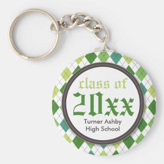 Preppy Argyle Customized Graduation Keychain green