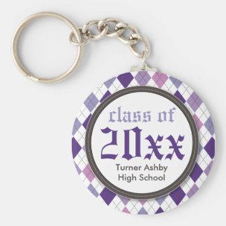 Preppy Argyle Customized Graduation Keychain lilac