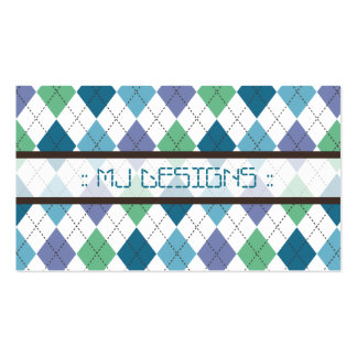 Preppy Argyle Diamond Pattern Business Card: blue Double-Sided Standard Business Cards (Pack Of 100)