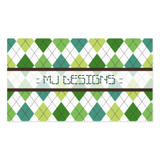 Preppy Argyle Diamond Pattern Business Card: green Business Card