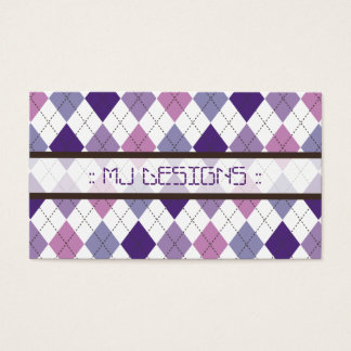 Preppy Argyle Diamond Pattern Business Card: lilac Business Card
