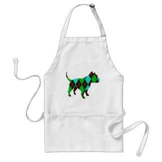 Preppy Argyle Dog Pitbull (blue/green/brown) Adult Apron