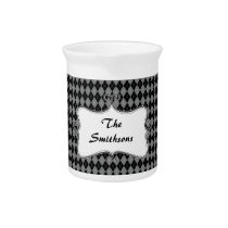 preppy argyle gray and black personalized pitcher