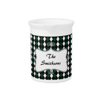 preppy argyle green and black personalized beverage pitcher