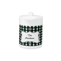 preppy argyle green and black personalized teapot