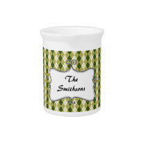 preppy argyle green and cream personalized drink pitcher