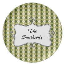 preppy argyle green and cream personalized melamine plate