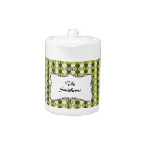 preppy argyle green and cream personalized teapot