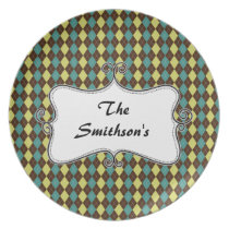 preppy argyle green & chocolate brown personalized plate