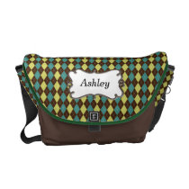 preppy argyle mocha green and yellow personalized courier bag