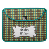 preppy argyle mocha green and yellow personalized sleeve for MacBooks