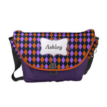 preppy argyle orange and purple personalized courier bag