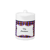 preppy argyle orange and purple personalized teapot