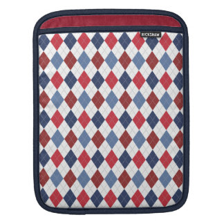 Preppy Argyle Patriotic USA Red White Blue Sleeve For iPads