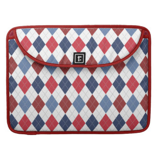 Preppy Argyle Patriotic USA Red White Blue Sleeves For MacBook Pro