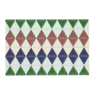 Preppy Argyle Pattern Laminated Paper Placemat
