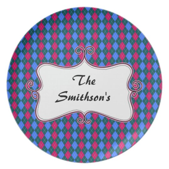 preppy argyle pink and blue personalized dinner plate