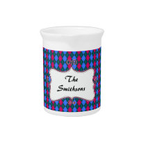 preppy argyle pink and blue personalized drink pitcher