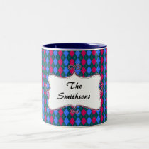 preppy argyle pink and blue personalized Two-Tone coffee mug