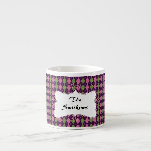 preppy argyle pink and purple personalized 6 oz ceramic espresso cup