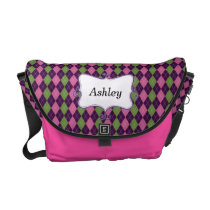 preppy argyle pink and purple personalized courier bag