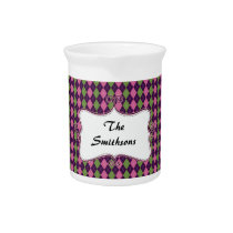 preppy argyle pink and purple personalized drink pitcher
