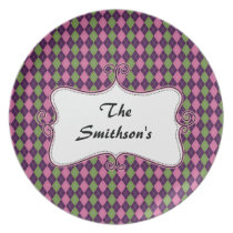preppy argyle pink and purple personalized melamine plate