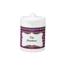 preppy argyle pink and purple personalized teapot