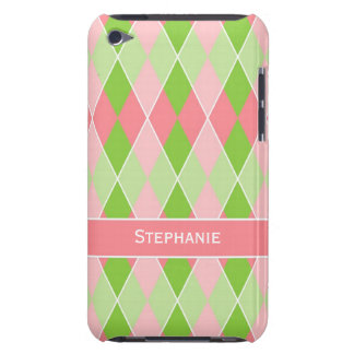 Preppy Argyle Plaid Fun Prep Modern Hot Pink Lime Barely There iPod Case