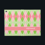 """Preppy Argyle Plaid Fun Prep Modern Hot Pink Lime iPad Mini Case<br><div class=""""desc"""">COLOR PALETTE: hot pink, lime green, mint and white DESIGN COLLECTION: This is a girly, trendy prep style, modern argyle diamond shaped plaid combination, geometric pattern that has a fun preppy fashion sense. For the fashionista you love the most, this is a very on trend design. Personalized with her name...</div>"""