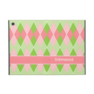 Preppy Argyle Plaid Fun Prep Modern Hot Pink Lime iPad Mini Case