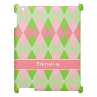 Preppy Argyle Plaid Fun Prep Modern Hot Pink Lime iPad Covers