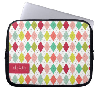 Preppy Argyle Plaid Laptop Sleeve with your Name