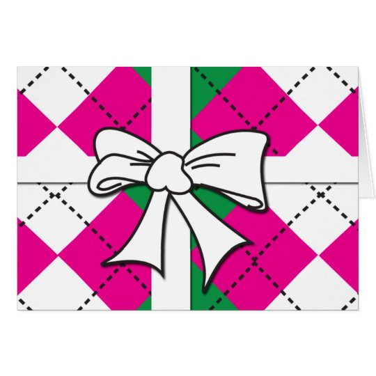 Preppy Argyle Tied with bow Card