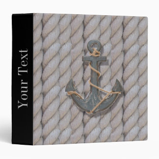 preppy beach rope navy wooden anchor nautical 3 ring binder