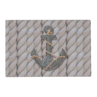 preppy beach rope navy wooden anchor nautical laminated place mat