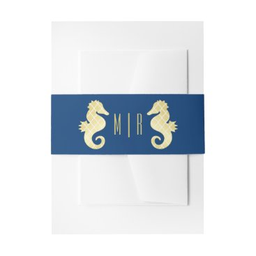 Beach Themed Preppy Beach Seahorse Navy Gold Monogram Wedding Invitation Belly Band
