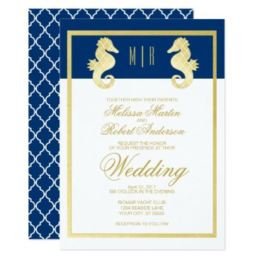 Beach Themed Preppy Beach Seahorse Navy Gold Wedding Card
