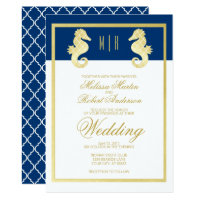 Preppy Beach Seahorse Navy Gold Wedding Invitation