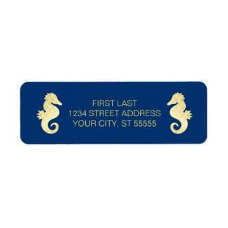 Preppy Beach Seahorse Navy Gold Wedding Label