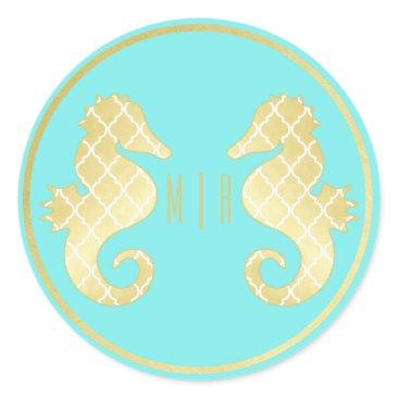 Beach Themed Preppy Beach Seahorse Turquoise Gold Wedding Classic Round Sticker
